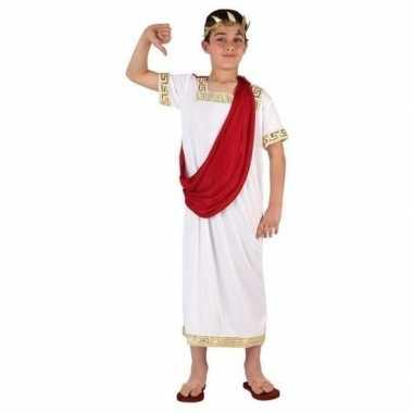 Romeinse toga verkleedkleren wit/rood voor jongens