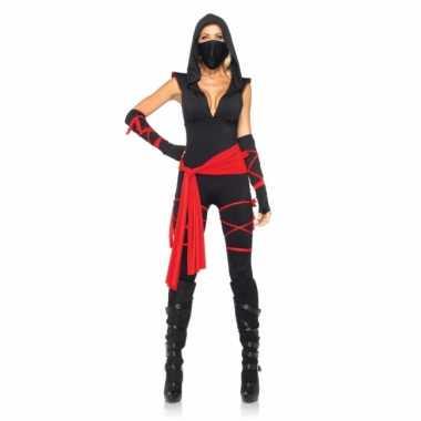 Rood met zwart ninja verkleedkleren voor dames