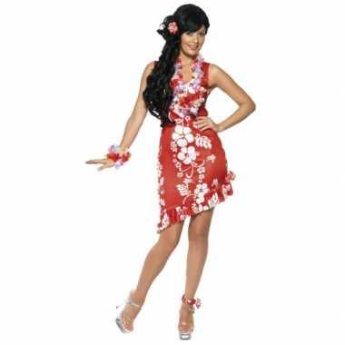 Rood/wit hawaii verkleedkleren/jurkje met accessoires dames