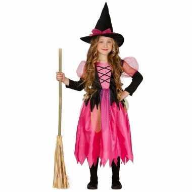 Roze heks verkleedkleren shiny witch voor kinderen