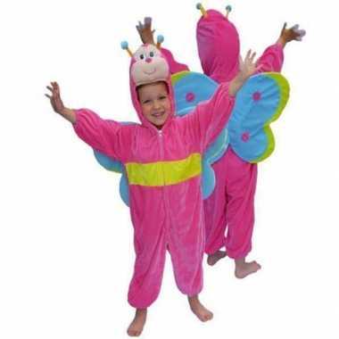 Roze vlinder verkleedkleren van pluche
