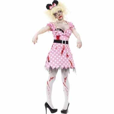 Roze zombie minnie verkleedkleren voor dames