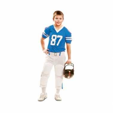 Rugby verkleedkleren wit met blauw voor kinderen