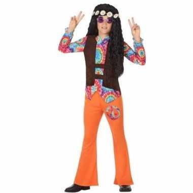 Sixties/hippie verkleedkleren oranje voor jongens