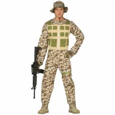Soldaat verkleed pak/verkleedkleren camouflage/woestijn voor heren