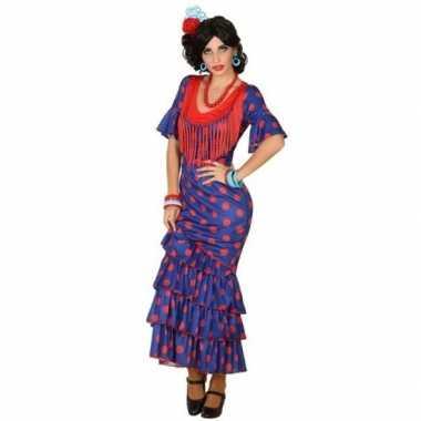 Spaanse flamencodanseres jurk blauw verkleedkleren voor dames