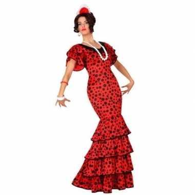 Spaanse flamencodanseres jurk rood verkleedkleren voor dames
