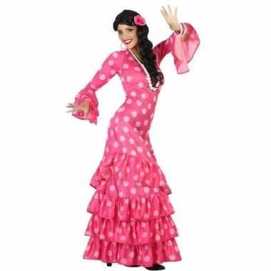 Spaanse flamencodanseres jurk roze verkleedkleren voor dames