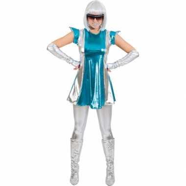 Space verkleedkleren blauw/zilver voor dames