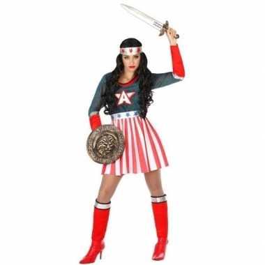 Superheld amerikaanse kapitein verkleed pak/verkleedkleren voor dames