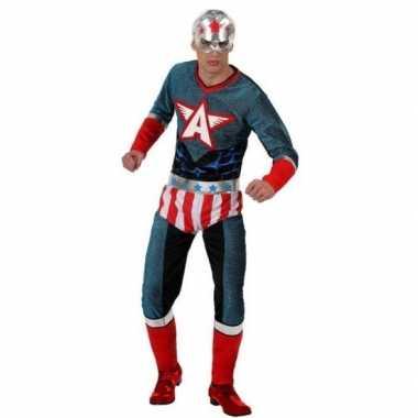 Superheld amerikaanse kapitein verkleed pak/verkleedkleren voor heren