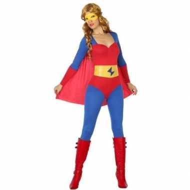 Superheld verkleed pak/verkleedkleren blauw/rood voor dames