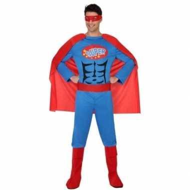 Superheld verkleed pak/verkleedkleren blauw/rood voor heren