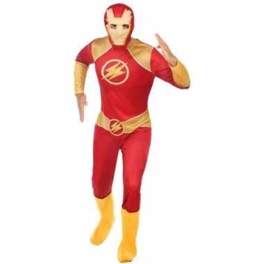 Superheld verkleed pak/verkleedkleren rood/goud voor heren