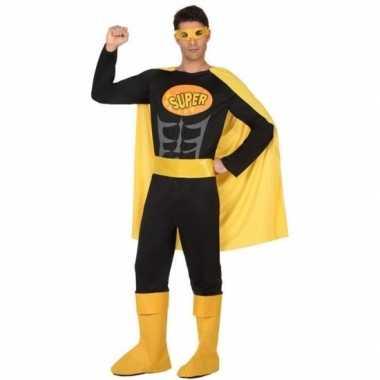 Superheld verkleed pak/verkleedkleren zwart/geel voor heren