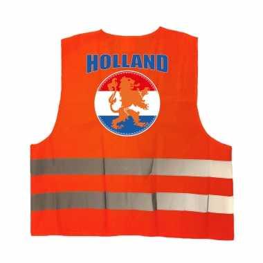 Veiligheidshesje holland met oranje leeuw ek / wk supporter verkleedkleren voor volwassenen