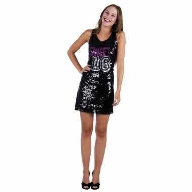 Verjaardagverkleedkleren zwart sweet 16 jurkje