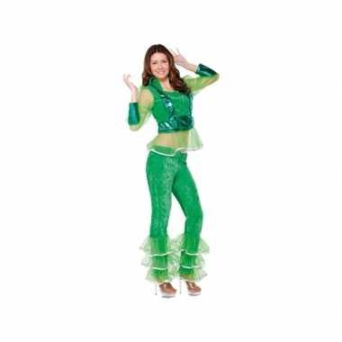 Verkleedkleren disco groen voor dames
