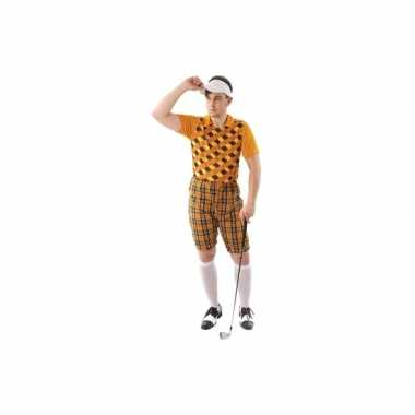 Verkleedkleren golfer oranje voor heren