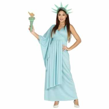 Verkleedkleren jurk vrijheidsbeeld blauw