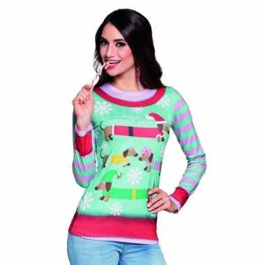 Verkleedkleren kerstprint dames shirt