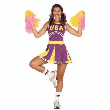 Verkleedkleren paarse cheerleader voor dames