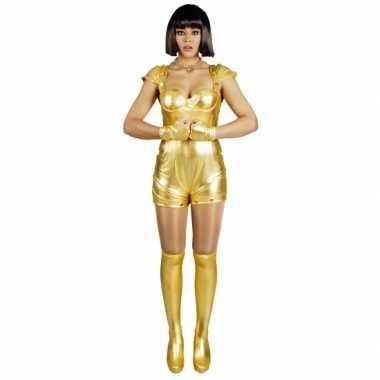 Verkleedkleren spacegirl goud voor dames