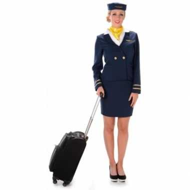 Verkleedkleren stewardess blauw