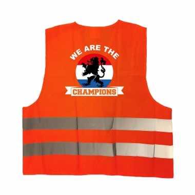 We are the champions oranje veiligheidshesje ek / wk supporter verkleedkleren voor volwassenen