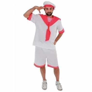 Wit roze matrozen verkleedkleren voor heren