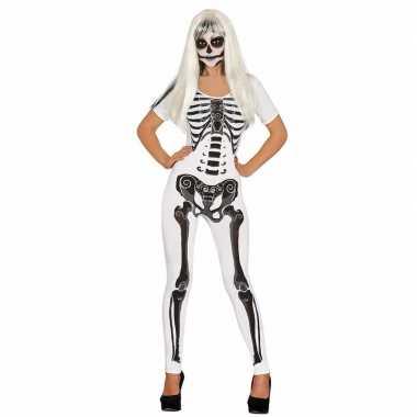 Witte skelet catsuit verkleedkleren voor dames