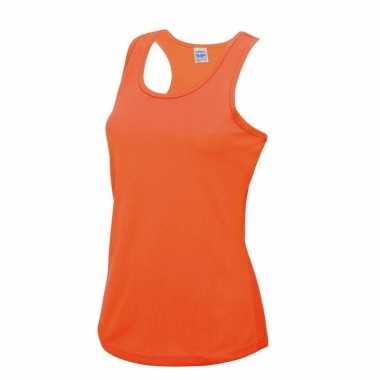 Yoga verkleedkleren neon oranje dames sport top