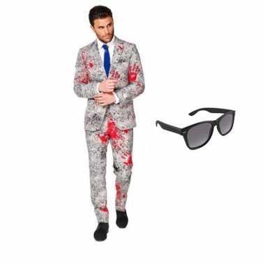 Zombie heren verkleedkleren maat 50 (l) met gratis zonnebril