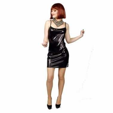 Zwart met lichte glitter stretch verkleedkleren/jurk