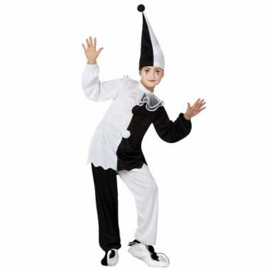 Zwart met wit pierrot clown verkleedkleren