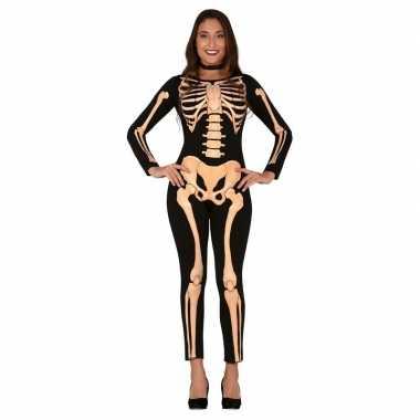 Zwart/oranje skelet verkleedkleren voor dames