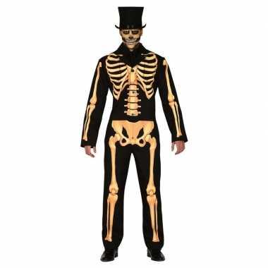 Zwart/oranje skelet verkleedkleren voor heren