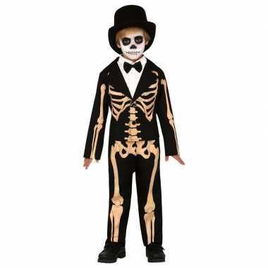 Zwart/oranje skelet verkleedverkleedkleren voor kinderen skelettenpak