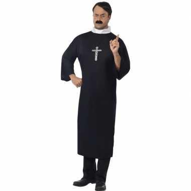 Zwart priester verkleedkleren voor heren