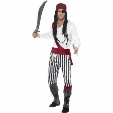 Zwart/wit piraten verkleedkleren voor heren