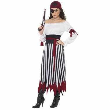 Zwart/wit/rood piraten verkleedkleren voor dames