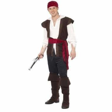 Zwart/wit/rood piraten verkleedkleren voor heren
