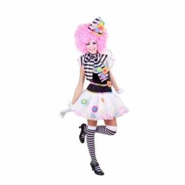 Zwart witte clown verkleedkleren voor dames