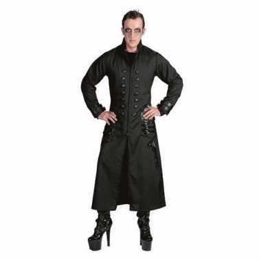 Zwarte gothic/vampier jas verkleedkleren voor heren