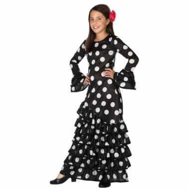 Zwarte spaanse kids verkleedkleren jurk