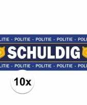 10 x schuldig stickers voor politie agent verkleedkleren