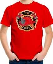 Brandweer logo t-shirt verkleedkleren rood voor kinderen