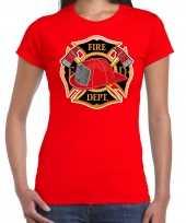 Brandweer logo verkleed t-shirt verkleedkleren rood voor dames