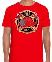 Brandweer logo verkleed t-shirt verkleedkleren rood voor heren