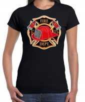 Brandweer logo verkleed t-shirt verkleedkleren zwart voor dames